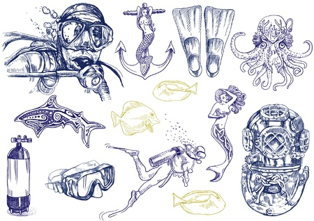 diving - the life of aquatic  hand drawing collection