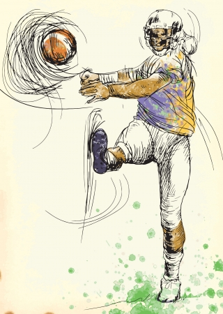 american footbal player, hand drawing converted into vector