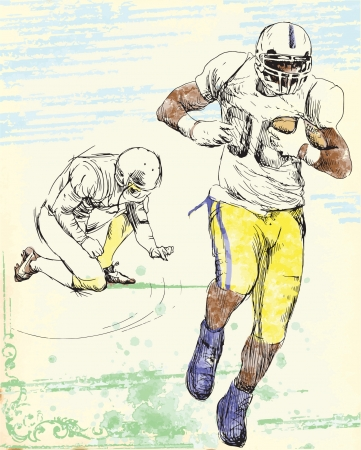 american footbal player - men, hand drawing converted into vector