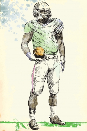 american footbal player - man, hand drawing converted into vector
