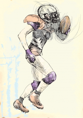 american footbal player - woman, hand drawing converted into vector