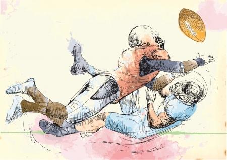 American football players, two guys in mutual scuffle
