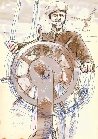 sea captain, the leader - a hand drawn illustration converted into vector