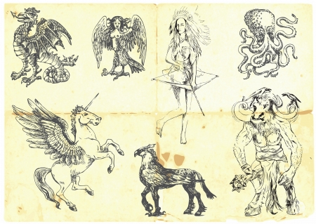 Collection of mythical characters known from the ancient Greek myths