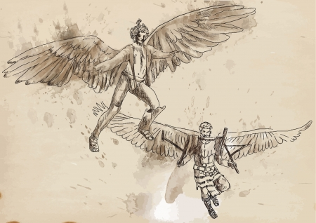 Icarus and Daedalus - Hand drawing into vector