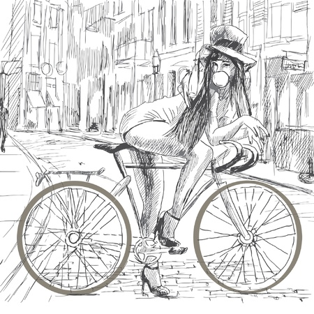 Girl resting on a bicycle and blowing bubbles