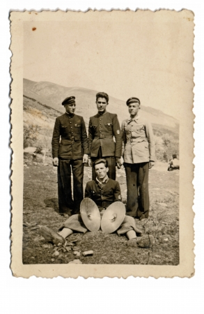 four soldiers - one of them with the cymbals - about 1950