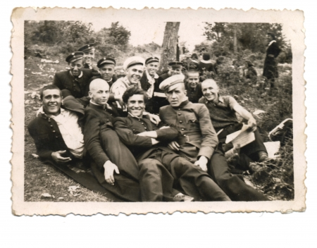 break in the forrest, crew of soldiers - vintage photo scan - about 1950