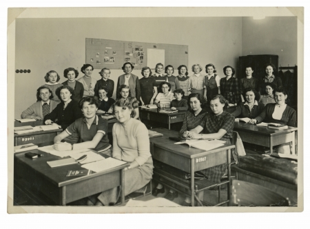 classmates at the school  girls  - circa 1945