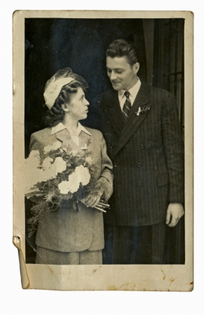 bride and groom - circa 1945の写真素材