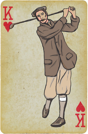 Playing Card, King - Vintage Golfer, an Man. Freehand drawing, vector. Vector is easy editable in layers. Background (card) is also isolated.