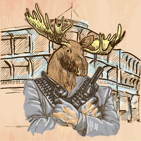 Gunman. Animal Shooter - Elk. Freehand sketching, line drawing. An hand drawn vector illustration. Colored background is isolated. Line art technique - colored. Vector is easy editable.