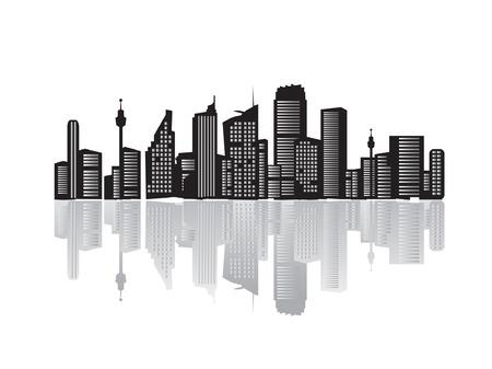 Illustration pour City landscape, silhouettes of houses black  - image libre de droit