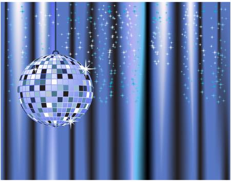 Disco ball, curtains, celebration