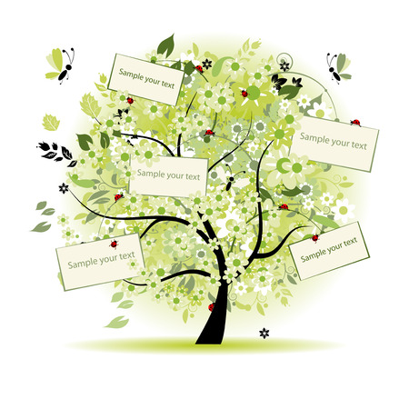 Wish tree floral with cards for your text