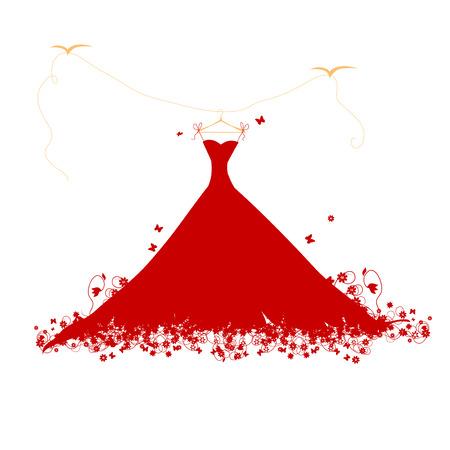 Ilustración de Dress red on hander, vector illustration - Imagen libre de derechos