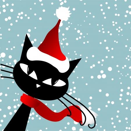Illustration pour Santa cat. Christmas card. - image libre de droit