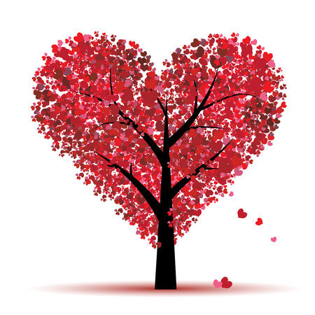 Illustration for Valentine tree, love, leaf from hearts - Royalty Free Image