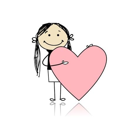 Ilustración de Cute girl with valentine heart, place for your text - Imagen libre de derechos