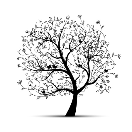 Art tree beautiful, black silhouette for your design