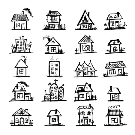 Sketch of art houses for your design