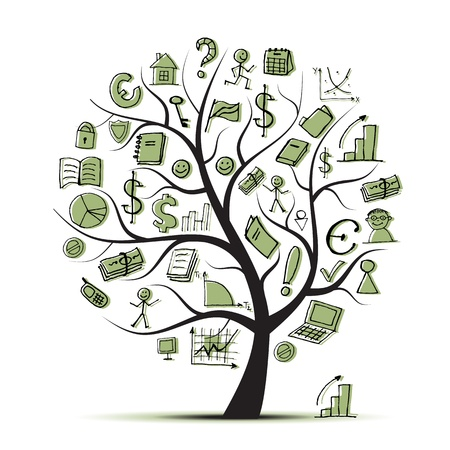 Illustration pour Art tree concept with business icons for your design - image libre de droit
