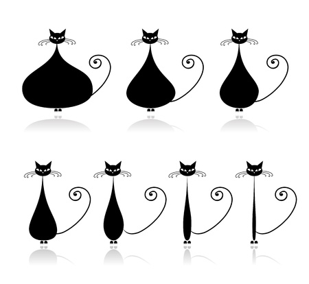 Stages of diet, funny black cat for your design