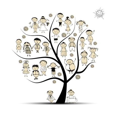 Illustration pour Family tree, relatives, people sketch - image libre de droit