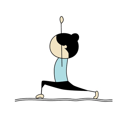 Woman practicing yoga, warrior pose
