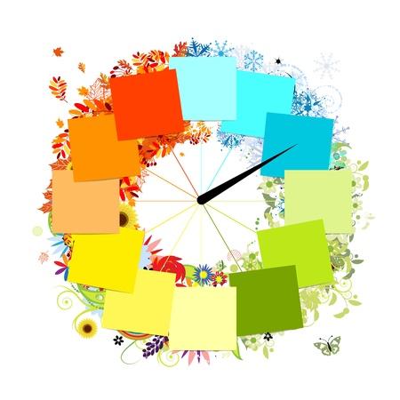 Design of clock  Four seasons, concept