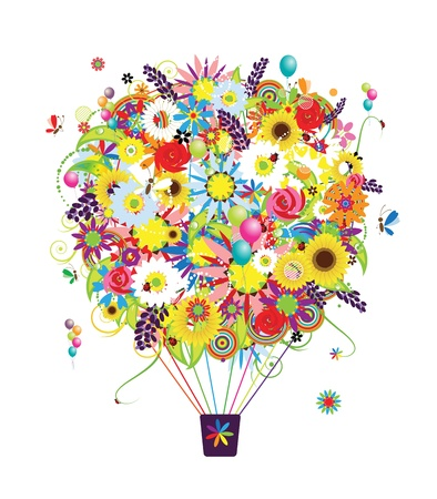 Summer season concept, air balloon with flowers for your design