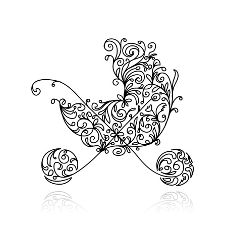 Illustration for Baby pram with floral decoration for your design  - Royalty Free Image
