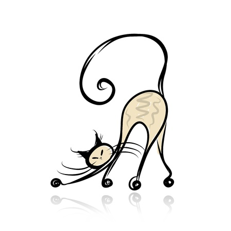 Graceful siamese cat for your design