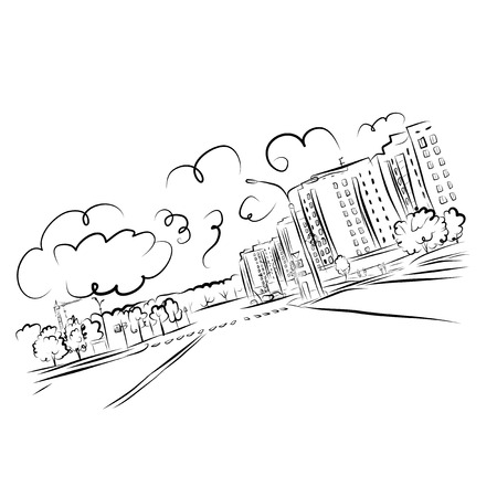 Sketch of cityscape for your design