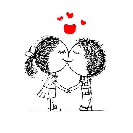 Illustration pour Couple kissing, valentine sketch for your design - image libre de droit