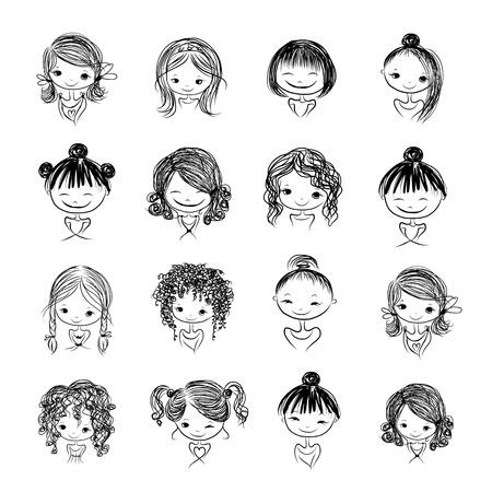 Ilustración de Set of cute girl characters, cartoon for your design - Imagen libre de derechos