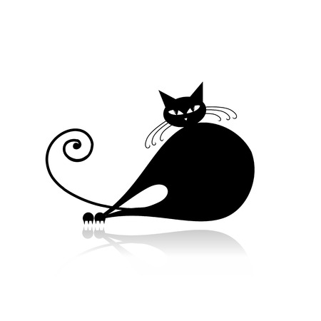 Ilustración de Black cat silhouette for your design - Imagen libre de derechos