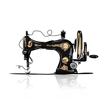 Photo pour Sewing machine retro sketch for your design - image libre de droit