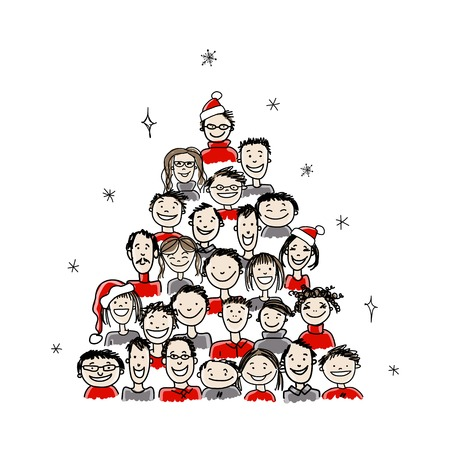 Illustrazione per Christmas tree made from group of people for your design - Immagini Royalty Free