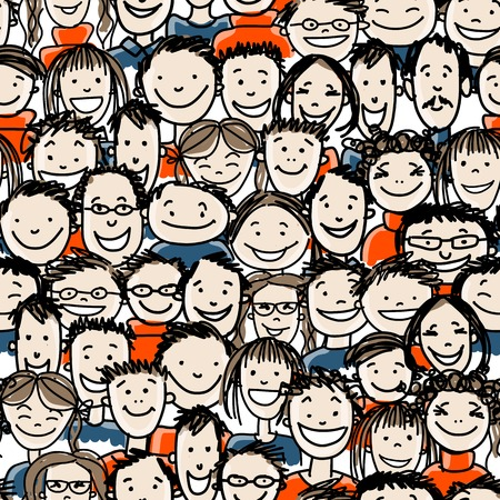 Illustration for Seamless pattern with people crowd for your design - Royalty Free Image