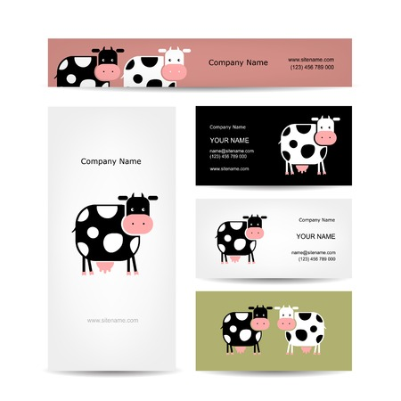 Business cards design with funny cowのイラスト素材