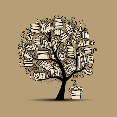 Book tree, sketch for your design. Vector illustration