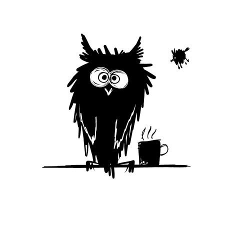 Funny owl black silhouette. Sketch for your design. Vector illustration