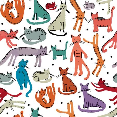 Illustration pour Cute cats, seamless pattern. Sketch for your design. Vector illustration - image libre de droit