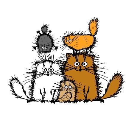 Ilustración de Fluffy cats family, sketch for your design. Vector illustration - Imagen libre de derechos