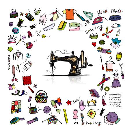 Illustration pour Sewing set, sketch for your design. Vector illustration - image libre de droit
