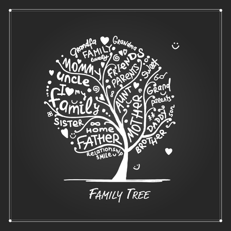 Illustration for Family tree sketch for your design, vector illustration - Royalty Free Image