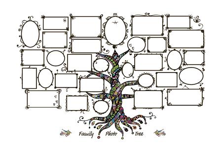 Illustration pour Family tree template with picture frames. Insert your photos. Vector illustration - image libre de droit