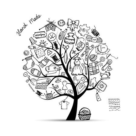 Illustration pour Sewing tree, sketch for your design. Vector illustration - image libre de droit