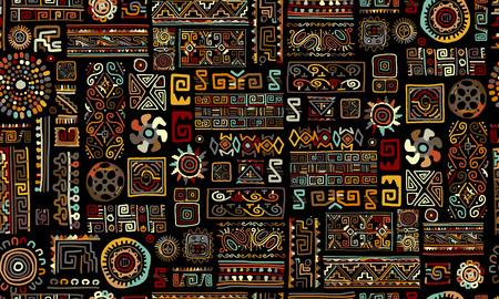 Ilustración de Ethnic handmade ornament, seamless pattern, vector illustration - Imagen libre de derechos